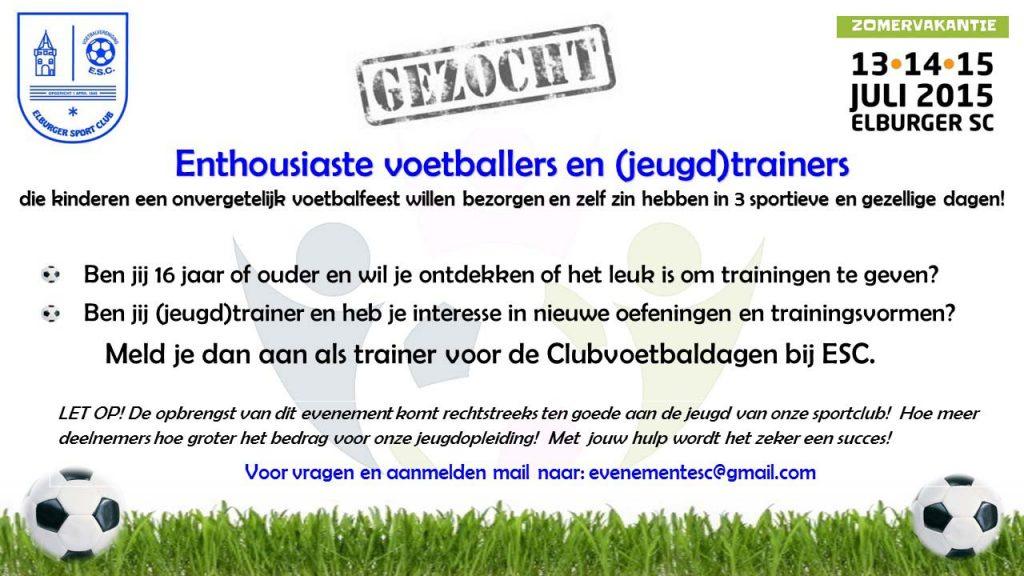 Gezocht trainers CLub Voetbal Dagen