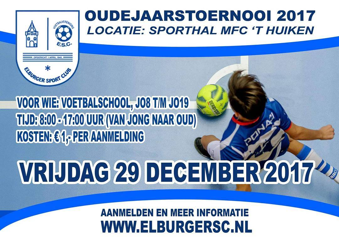 Oudejaarstoernooi voor jeugdspelers ESC - Elburger SC