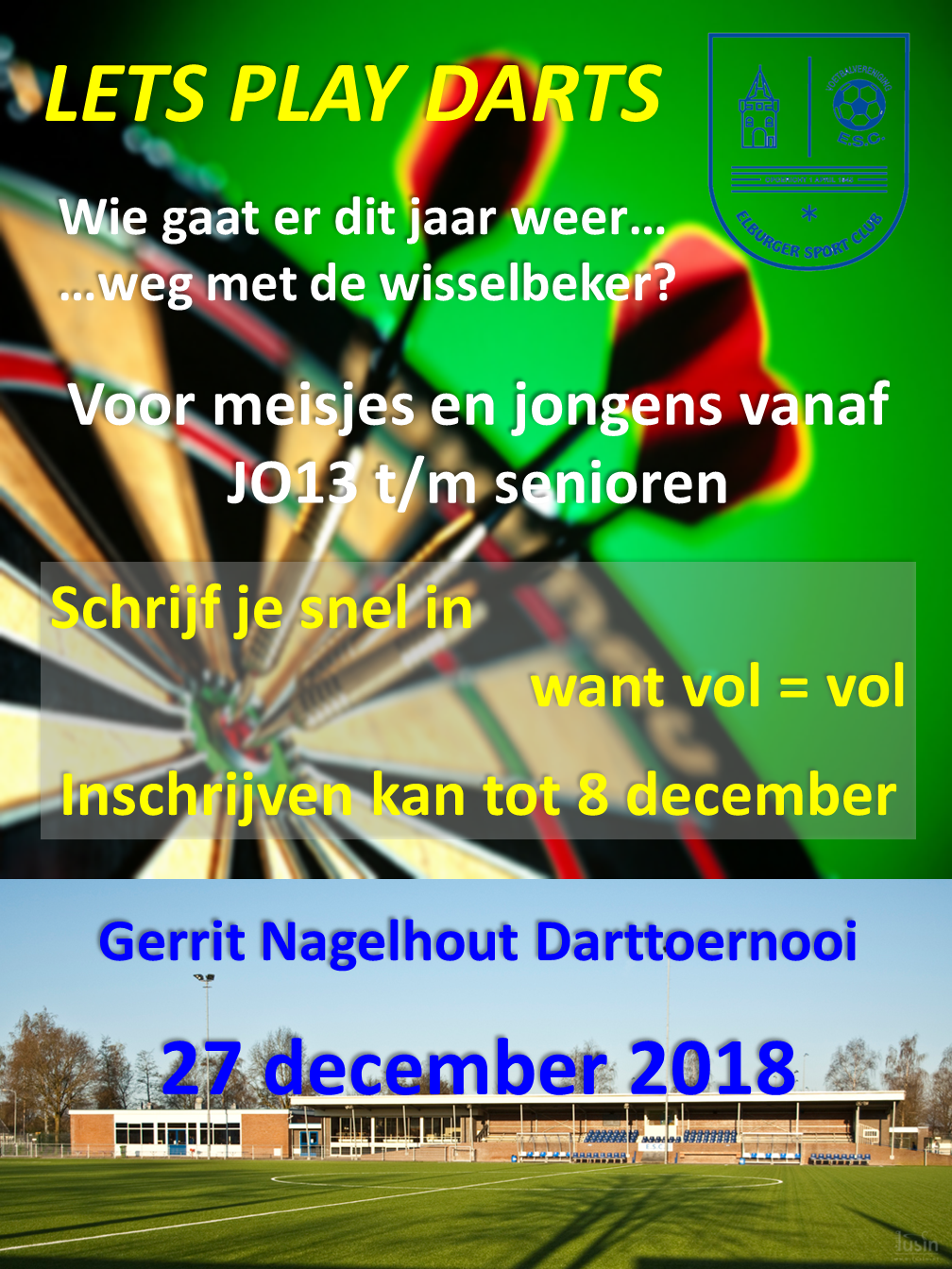 Gerrit Nagelhout Darttoernooi – 27 december - Elburger SC