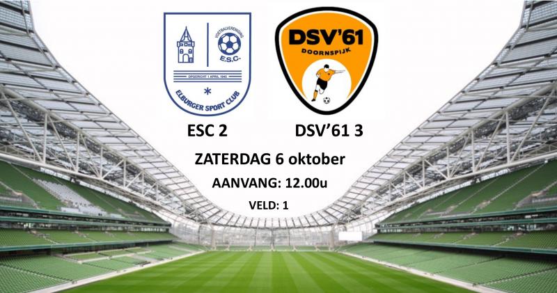 As. zaterdag ESC 2 – DSV'61 3 - Elburger SC