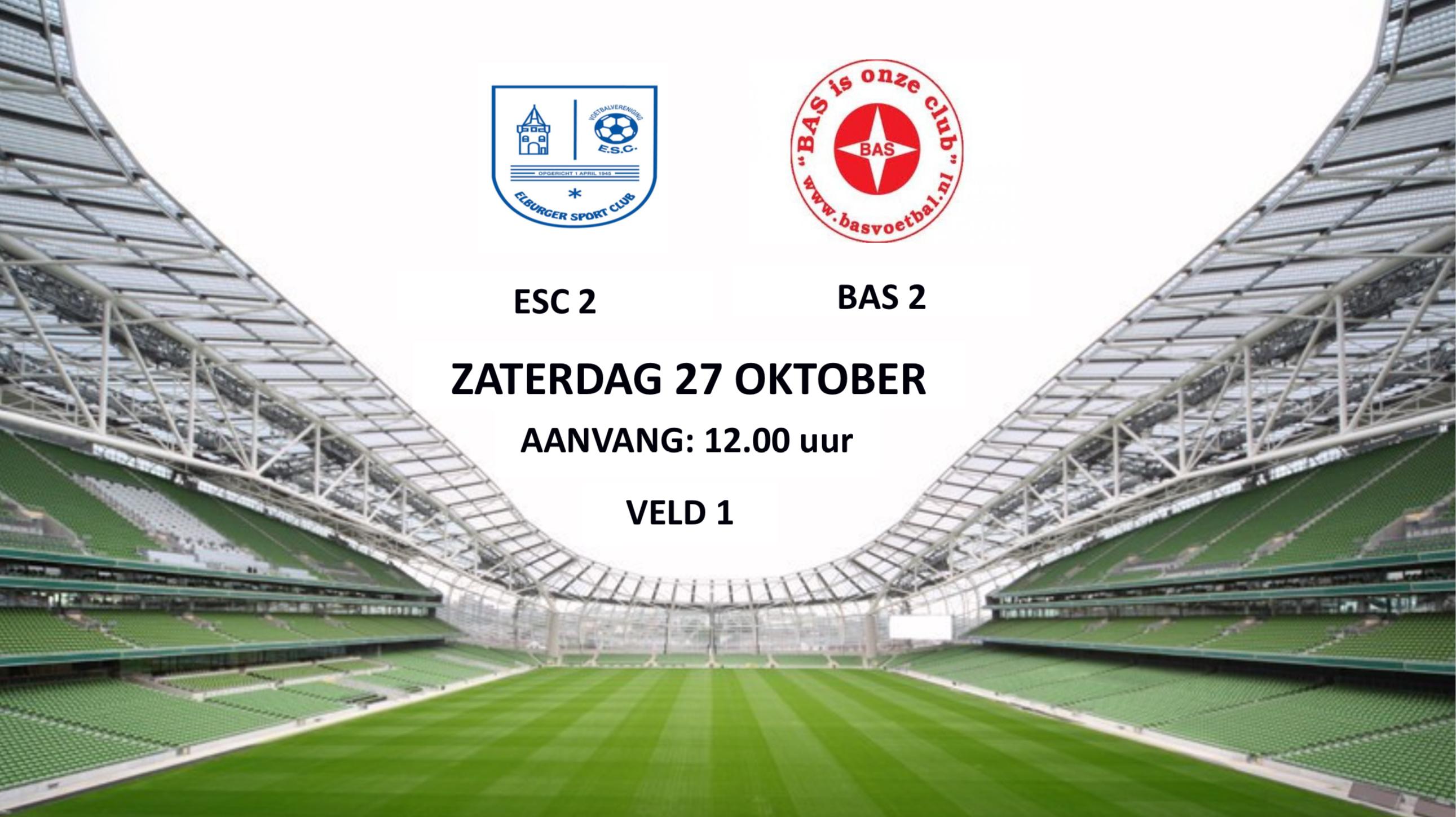 As. zaterdag ESC 2 – BAS 2 - Elburger SC