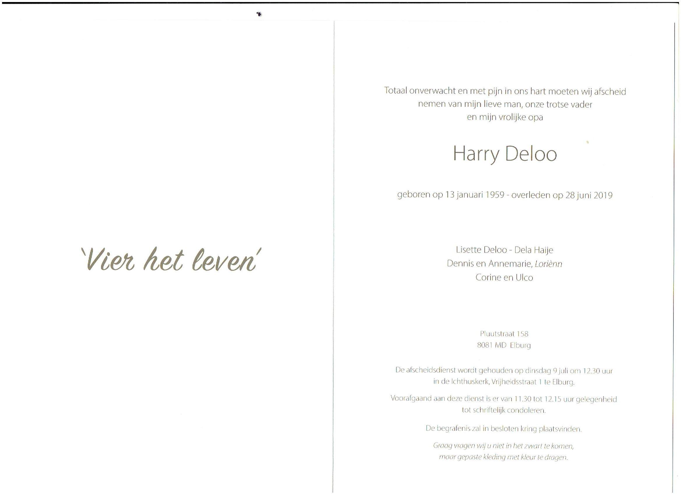 Rouwkaart Harry Deloo - Elburger SC