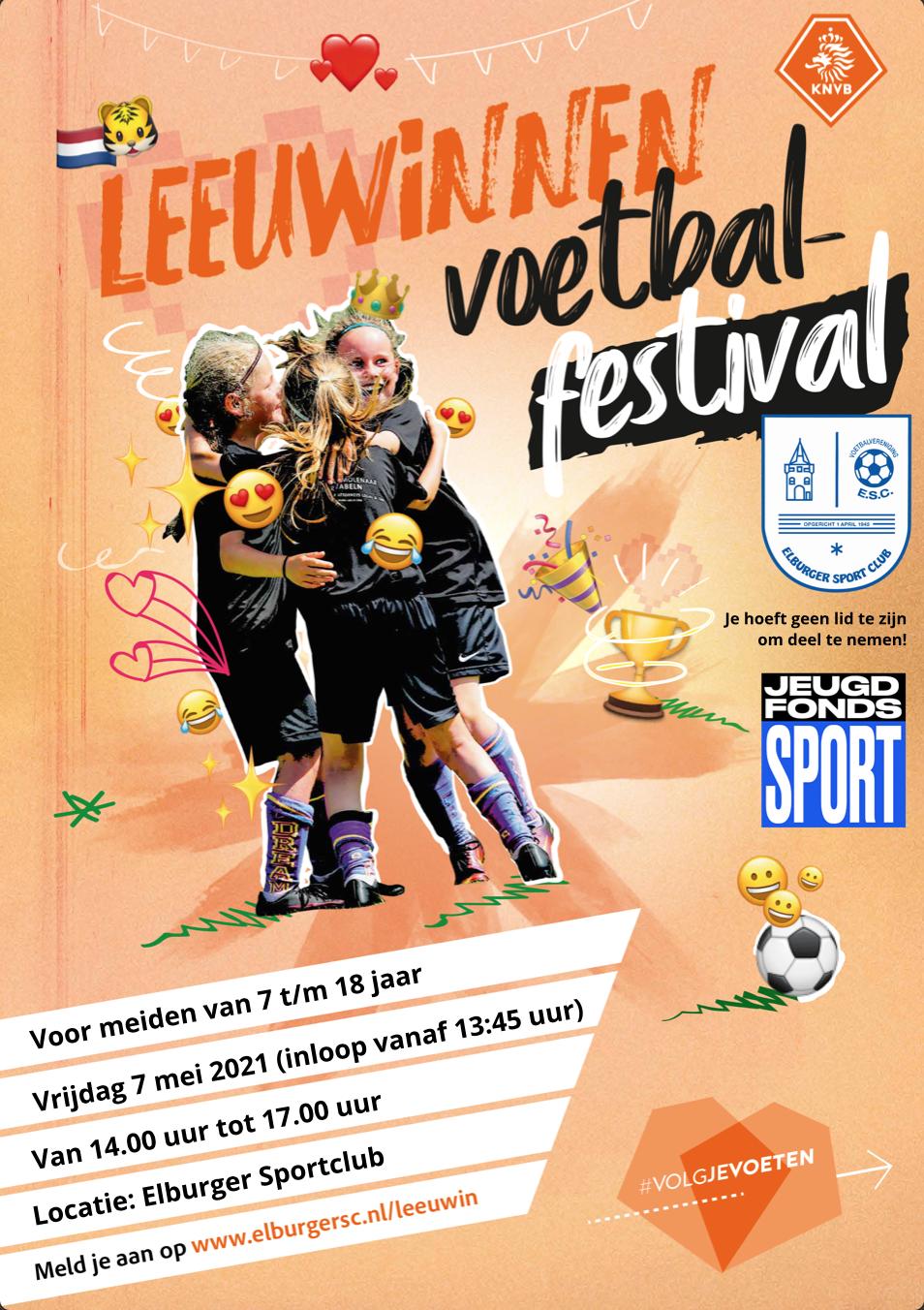 ElburgerSC - Meld je aan voor het Leeuwinnen Voetbalfestival en neem een vriendin mee!