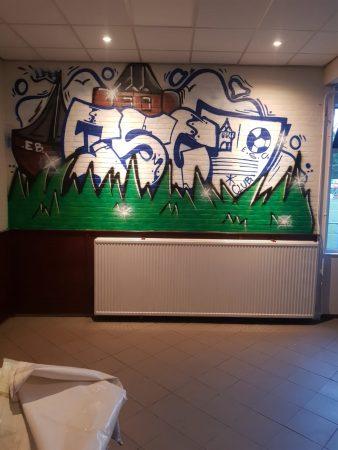 Mooie graffiti versiering in de kantine gemaakt door Sem Smulders - Elburger SC