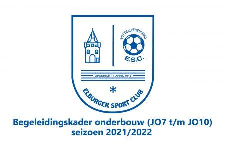 Begeleidingskader Onderbouw (JO7 t/m JO10) voor seizoen 2021/2022 bekend! - Elburger SC